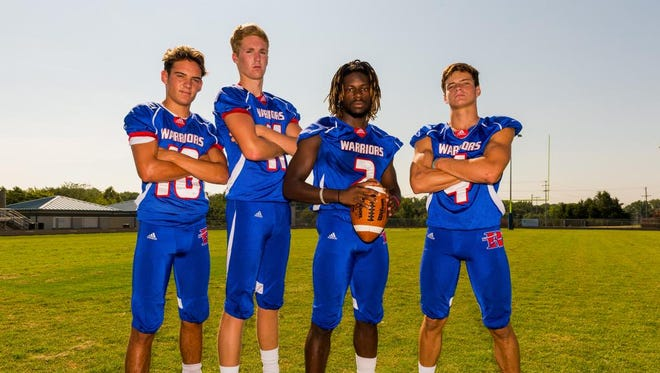 Riverside Warriors (let to right) Logan DiBenedetto (18), Will Garrett (11),  Robert Morrow (2), Brooks O'Brien (4) on Saturday, August 6, 2016 at The Reservation.