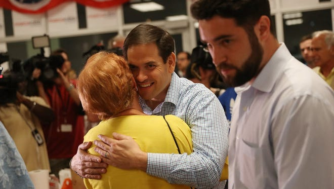 Sen. Marco Rubio thanks volunteers at a phone bank on Aug. 29, 2016, the final day before Florida's Senate primary.