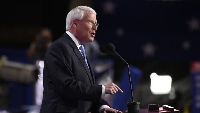 Sen. Roger Wicker, R-Miss., chairman of the National Republican Senatorial Committee, speaks during the 2016 Republican National Convention at Quicken Loans Arena in Cleveland, Ohio.