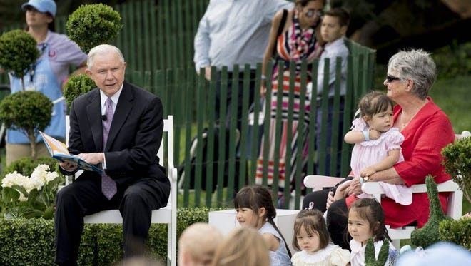 Attorney General Jeff Sessions at the White House Easter fest on April 17, 2017.
