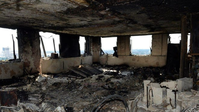 A burned flat inside the Grenfell Tower, a 24-story apartment block in North Kensington, West London, Britain, on June 18.