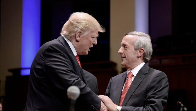 President Trump and Pastor Robert Jeffress in July 2017.