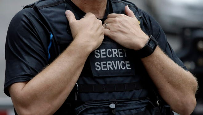 Secret Service agent outside of Trump Tower in New York on Aug. 14, 2017.