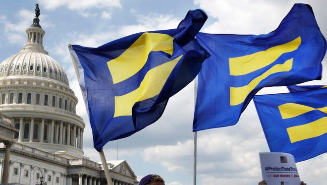 "Human Rights Campaign ""equality flags"" on Capitol Hill in Washington, D.C."