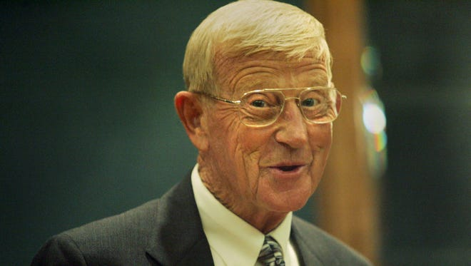 This file photo from 2006 shows Lou Holtz speaking at a news conference in Columbia, S.C.