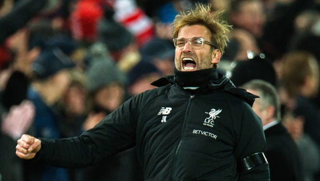 Liverpool manager Jurgen Klopp reacts during his team's win over Manchester City.