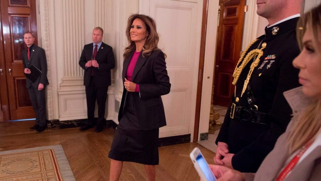 First lady Melania Trump arrives for a roundtable on cyberbullying on March 20, 2018.