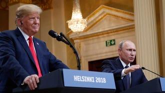 President Donald Trump with Russian President Vladimir Putin in Helsinki, Finland, on July 16, 2018.