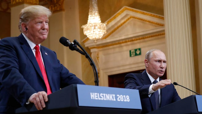 President Donald Trump with Russian President Vladimir Putin in Helsinki on July 16, 2018.