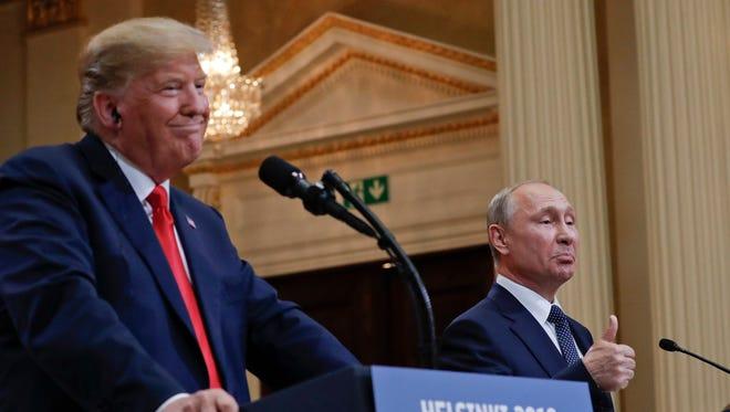 U.S. President Donald Trump and Russian President Vladimir Putin in Helsinki, Finland, on July 16, 2018.