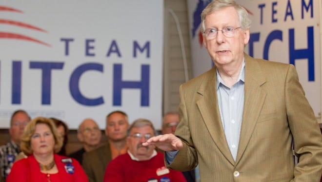 Sen. Mitch McConnell, R-Ky., campaigns Wednesday in Paducah,