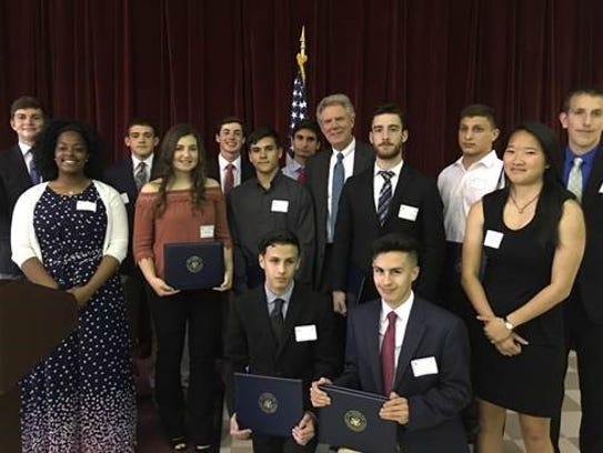 Congressman Pallone with Services Academy nominees
