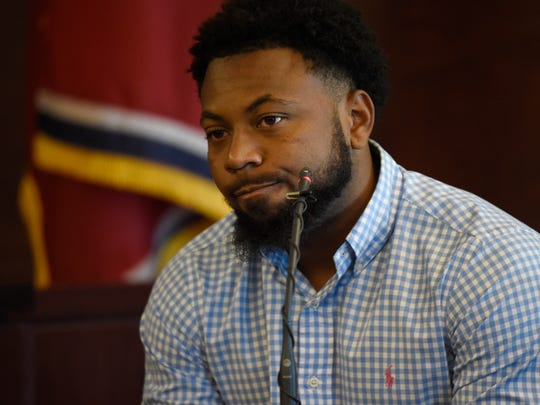 """Jaborian """"Tip"""" McKenzie, another defendant charged in the Vanderbilt rape case, testifies during the trial of Brandon E. Banks on June 20, 2017, at the Justice A. A. Birch Building in Nashville. McKenzie has testified against his former teammates in previous trials."""