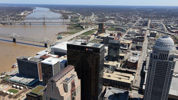 Downtown Louisville and the Louisville skyline. showing