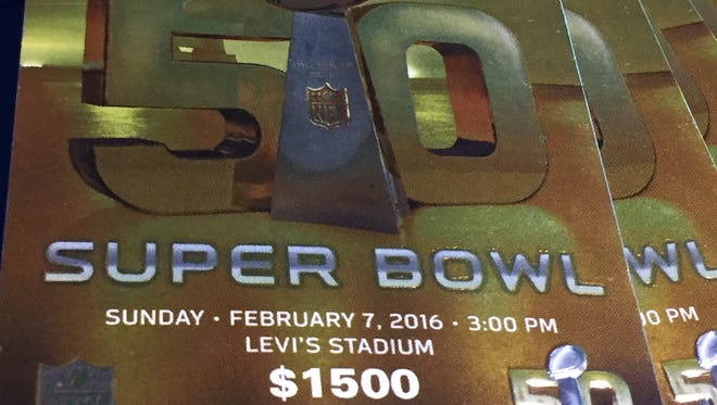 A close-up of a ticket to Super Bowl 50, being sold on StubHub.