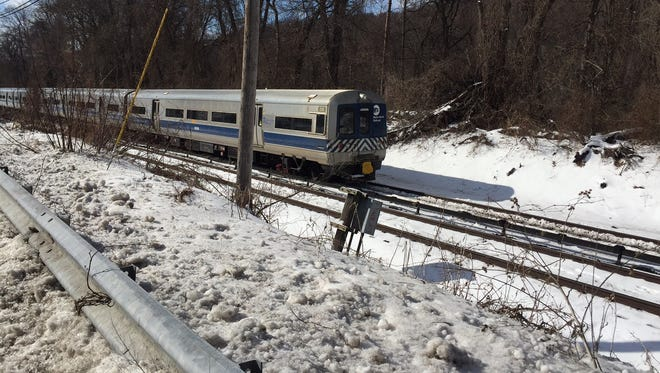 A car on a Harlem Line train derailed after hitting a tree, Feb. 13, 2017. Harlem Line service was suspended between Hartsdale and Southeast.