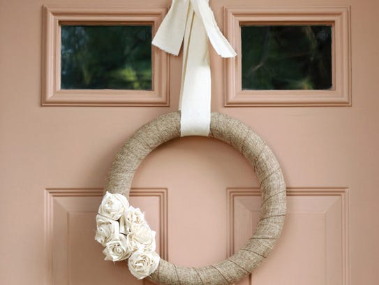 A neutral DIY wreath makes a rustic statement for fall.