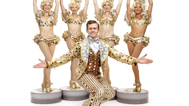 """Blake Stadnik as Billy Lawlor, with (l to r) Tricia DeSario, Alicia Newcom, Molly Jean Blodgett and Lucia Foster in """"42nd Street."""""""