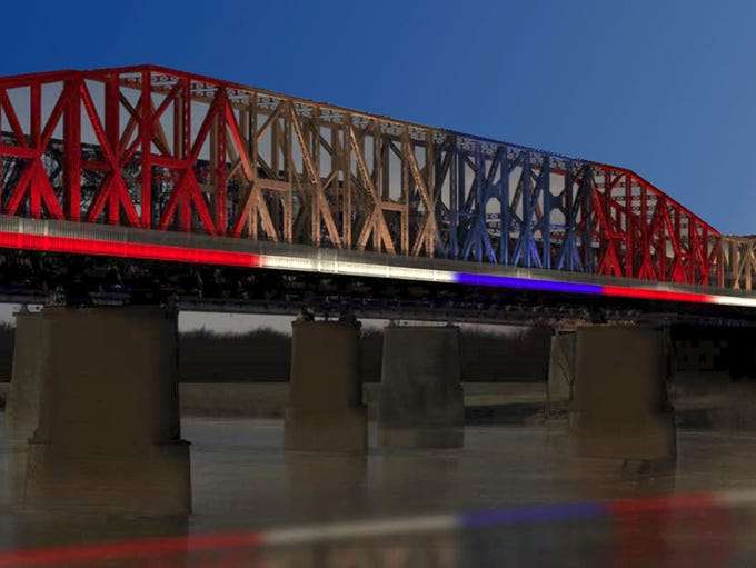 An artist's rendering shows the Harahan Bridge lit