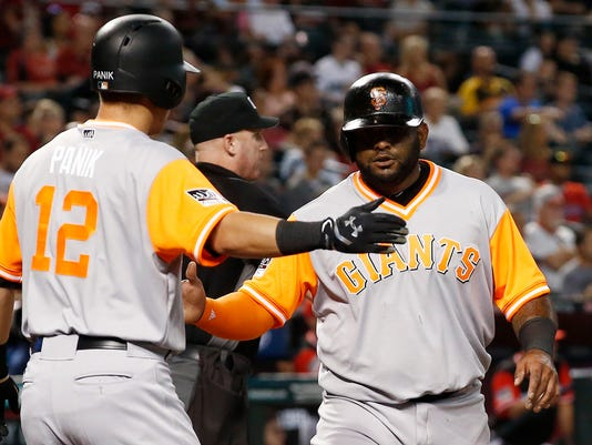 San Francisco Giants' Pablo Sandoval, right, slaps hands with Joe Panik (12) after Sandoval scored against the Arizona Diamondbacks during the second inning of a baseball game Friday, Aug. 25, 2017, in Phoenix. (AP Photo/Ross D. Franklin)