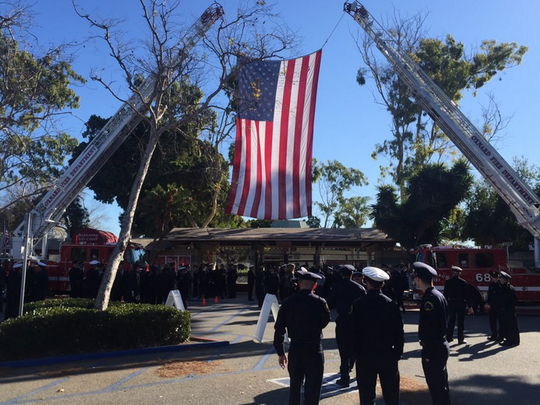 A memorial ceremony was held in Ventura County last year to remember Oxnard Fire Capt. Scott Carroll.