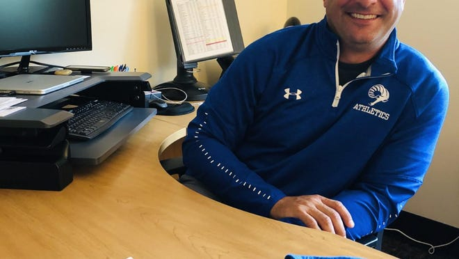 Jeremie Sirois, the new principal of Kennebunk High School, seen here in his office on Wednesday, Sept. 9, 2020, said he is looking to build connections with students despite the COVID-19 pandemic limitations.