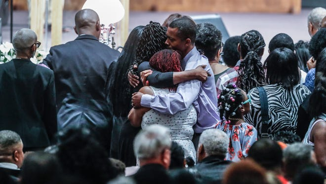 """Family and friends mourn the loss of five members of the Coleman family who died in a duck boat accident on Table Rock Lake near Branson Missouri, during funeral services at Eastern Star Church, 5805 Cooper Road, in Indianapolis Ind., on Saturday, July 28, 2018. In all 9 members of the Coleman family were killed in the tragedy which took place on July 19. Saturdays service remembered Horace """"Butch"""" Coleman, 70, and his wife, Belinda """"Toni,"""" Rose Coleman, 69, Horace's brother, Irvin """"Ray,"""" Coleman, 76, Horace's daughter, Angela """"Angee"""" Fay Coleman, 45, and Angela's son Maxwell Bayla Ly , 2."""