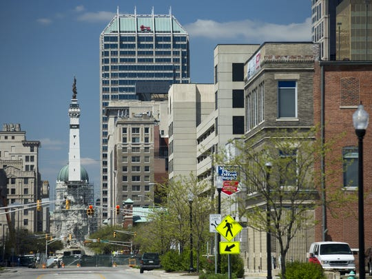Downtown skyline, featuring Key Bank, on Monument Circle, Indianapolis, Tuesday, April 28, 2015.