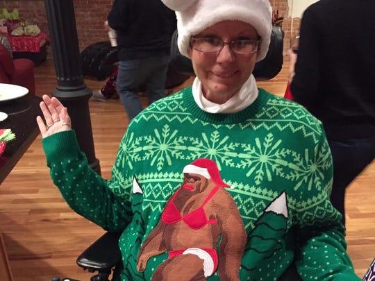 Shreveport resident Lynn Stevens wears her ugly Christmas