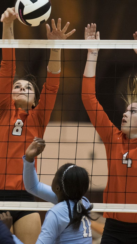 Mauldin's Jenna Moore (8) and Riley Whitesides (4)