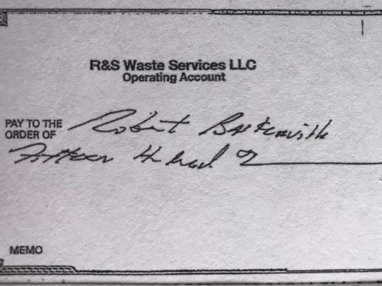 Copy of a check Robert Baskerville said he received from Joseph Spiezio's company for work Baskerville did on Richard Thomas' campaign for Mount Vernon mayor in 2015.