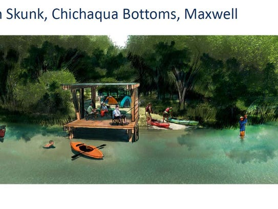 Proposed over-water shelters in Chichaqua Bottoms in