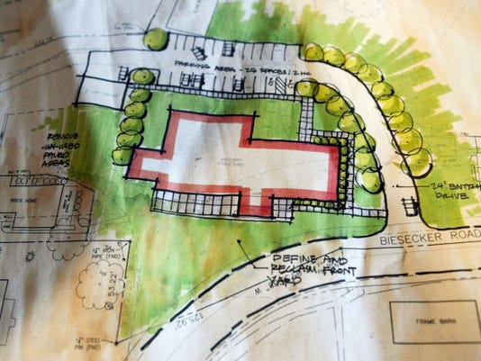 A 2007 concept plan shows one option for the placement of a driveway around a blind corner for the old Biesecker Mill, in the Thomasville area of Jackson Township.