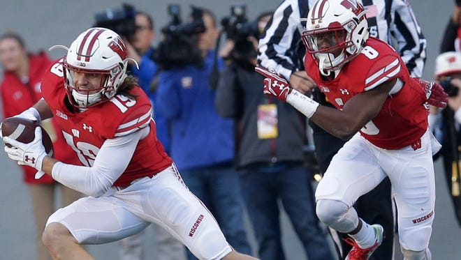 Wisconsin safety Leo Musso had a pair of interceptions on Saturday.