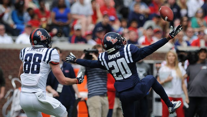 Ole Miss cornerback Carlos Davis started five games for the Rebels in 2016.