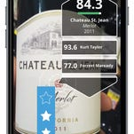 A photo illustration showing how the Next Glass app is used to scan a beer bottle for ratings and information.