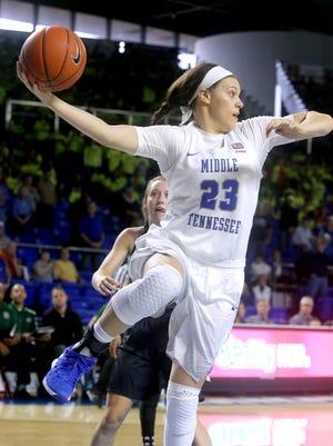MTSU's Gabby Lyon (23) will help MTSU grab the upset over the Wildcats on Friday.