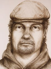 A sketch released by police Monday, July 17, 2017, of a man believed to be connected to murder of Liberty German and Abigail Williams last February in Delphi, Ind. The bodies of German, 14, and Williams, 13, were found a day after they were hiking near Monon High Bridge east of Delphi.