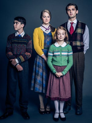 """Gus O'Brien as Edmund, Morgan Davis as Susan, Bella Higginbotham as Lucy and Joe Leitess as Peter in """"The Lion, the Witch and the Wardrobe"""" at Studio Tenn (costume designs by Matt Logan)."""