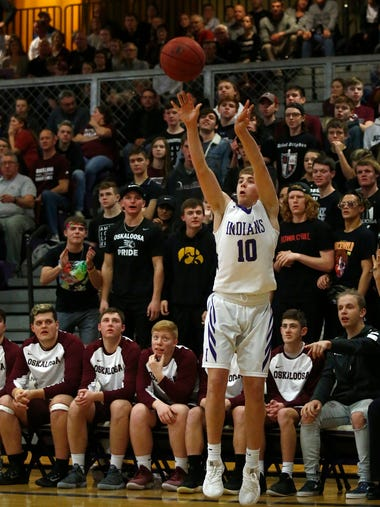 Indianola junior AJ Toigo launches a 3-point shot from