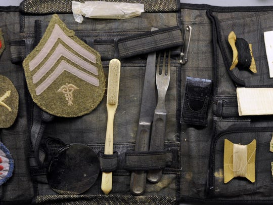 A World War I comfort kit is displayed at the Scurry County Museum in Snyder, Texas.