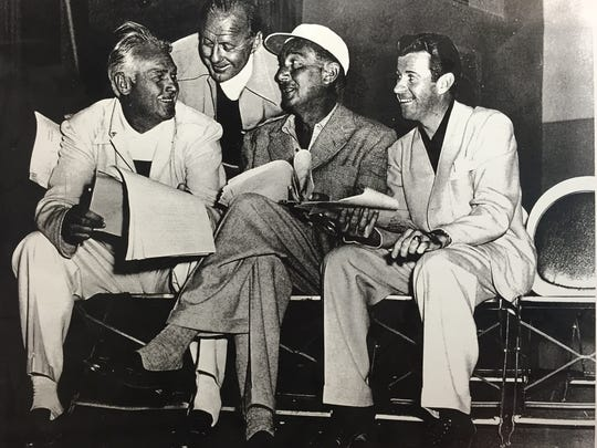 From left, Charlie Farrell, Jack Benny, unknown and singer Dennis Day at the American Legion Owen Coffman Post 519 in Palm Springs.