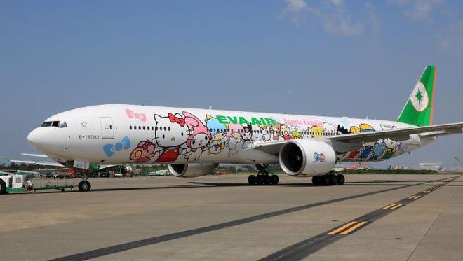 EVA's 'Hello Kitty EVA Hand-in Hand Jet' arrives at Los Angeles International on Sept. 18, 2013.