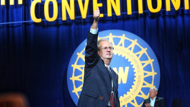 Gary Jones, elected the new president of the United Auto Workers Union during the 37th UAW Constitutional convention, gives a thumbs up on stage at the Cobo Center in Detroit on Thursday, June 14, 2018.
