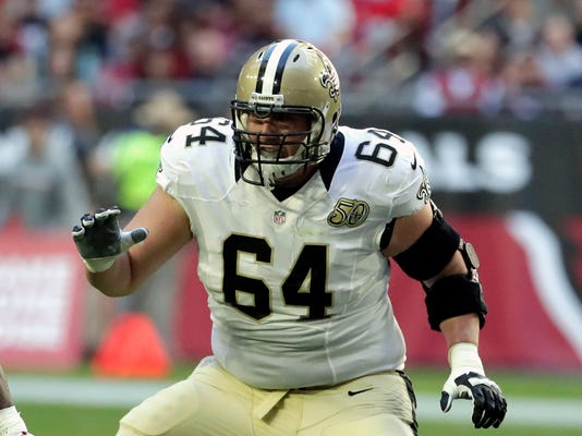 FILE - In this Dec. 18, 2016, file photo, New Orleans Saints tackle Zach Strief (64) follows the play during the first half of an NFL football game against the Arizona Cardinals, in Glendale, Ariz. The Saints open their season on Sept. 11 against Minnesota. (AP Photo/Rick Scuteri, File)