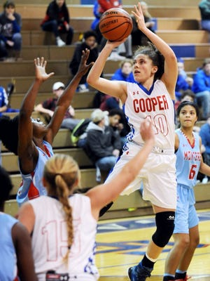Cooper's Cheyenne Sherwood, right, puts up a shot over the Lubbock Monterey defense. Sherwood scored 19 points in a 65-60 loss against Monterey in the District 4-5A opener Friday, Jan. 6, 2017 at Cougar Gym.
