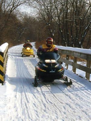 Snowmobiling in Onalaska.