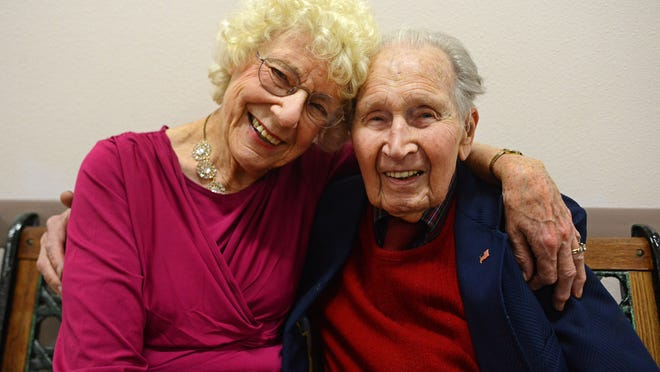 Jerry Perry and his wife, Joan, at the Keizer/Salem Area Senior Center on Friday, Jan. 9, 2015, in Keizer. Perry turned 100 on Jan. 11.