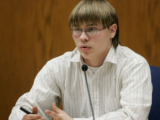 Blaine Dassey, Steven Avery's nephew and the brother of Brendan Dassey gives testimony in the courtroom at the Calumet County Courthouse Tuesday, Feb. 27, 2007, in Chilton, Wis.  Blaine Dassey testified Tuesday that he lived on the Avery property on Halloween 2005, the day that photographer Teresa Halbach was there photographing a vehicle being sold by Steven Avery. Avery is accused, along with his 17-year-old nephew, of killing Teresa Halbach, 25, after she went to the family's rural salvage lot to photograph a minivan they had for sale.  (AP Photo/Sheboygan Press, Bruce Halmo)