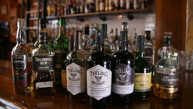 Irish whiskeys offered up at The Daily Refresher on the second floor of the Alexander Street bar Tuesday, March 14, 2017.